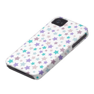 Lilac, Baby Blue and Pink stars pattern on White iPhone 4 Cover