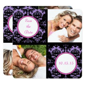 Lilac Black Damask Pink Wedding Save the Date Card