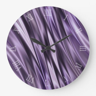 Lilac black waves large clock
