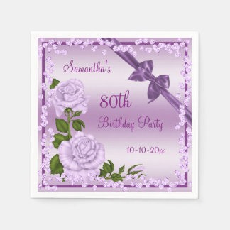 Lilac Blossom, Bows & Diamonds 80th Disposable Napkin