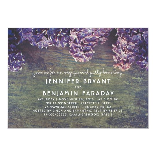 Lilac Blossoms Rustic Wood Engagement Party Card