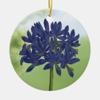 Lilac Blue Agapanthus in the Garden Christmas Ornament