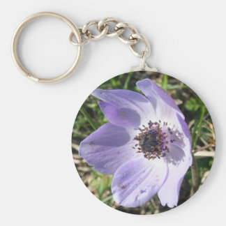 Lilac Blue Anemone Coronaria Wild Flower Basic Round Button Key Ring