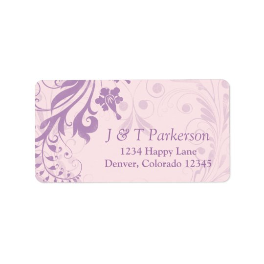Lilac Blush Pink Floral Wedding Address Label