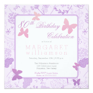 Lilac Boho Butterfly Floral 80th Birthday Party 13 Cm X 13 Cm Square Invitation Card