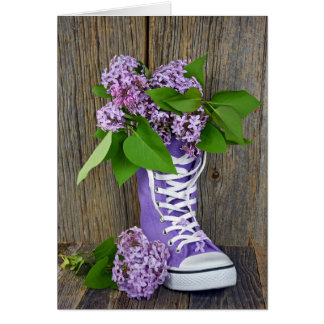 Lilac bouquet in sneaker greeting card