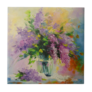 Lilac Bouquet Small Square Tile