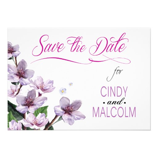 Lilac Branches Watercolor Save the Date Announcement