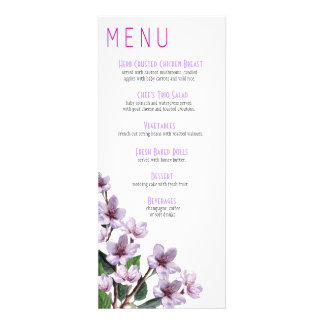 Lilac Branches Wedding Menu Invites