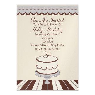 "Lilac & Brown Birthday Cake Birthday Party 5"" X 7"" Invitation Card"