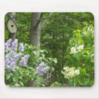 Lilac Bush and Bird House Mouse Mat
