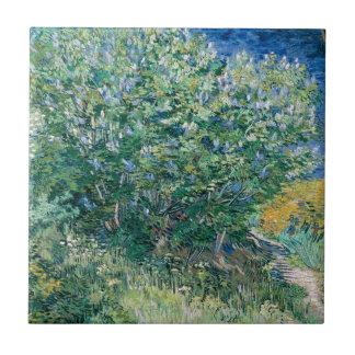 Lilac Bush (Lilacs) by Vincent Van Gogh Small Square Tile