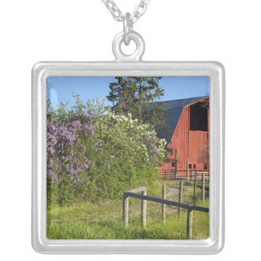 Lilac bushes in bloom and magpies in the trees pendants