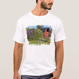 Lilac bushes in bloom and magpies in the trees T-Shirt