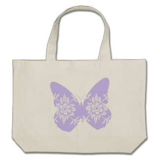 Lilac Butterfly Floral Canvas Bag