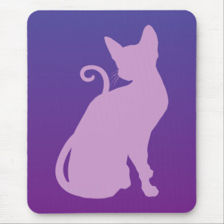 Lilac Cat on Purple Mouse Mat