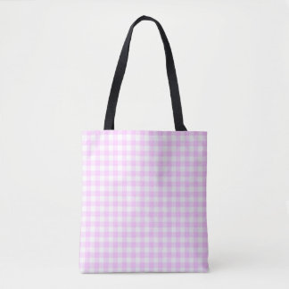 Lilac Check all over tote checked back