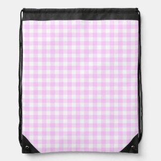 Lilac Check drawstring backpack