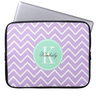 Lilac Chevron with Mint Monogram Laptop Sleeve