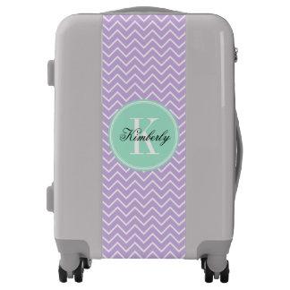 Lilac Chevron with Mint Monogram Luggage