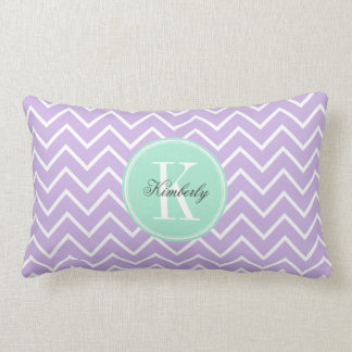 Lilac Chevron with Mint Monogram Lumbar Cushion