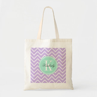 Lilac Chevron with Mint Monogram Tote Bag