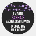 Lilac Confetti Personalised Bachelorette Party Round Sticker