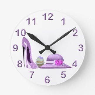 Lilac Cupcake hearts, Stiletto and Hat Art Round Clock