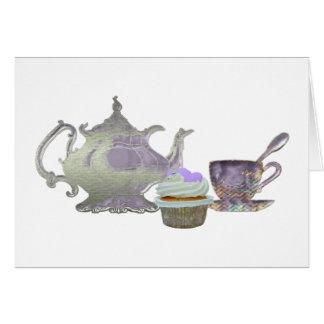 Lilac Cupcake Hearts, Teapot and Teacup Art Card