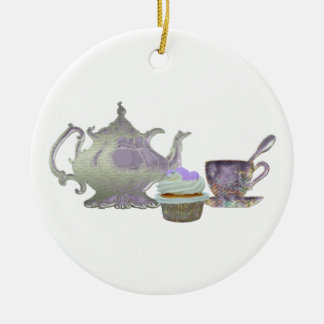 Lilac Cupcake Hearts, Teapot and Teacup Art Christmas Ornament
