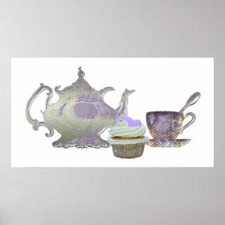 Lilac Cupcake Hearts, Teapot and Teacup Art Poster