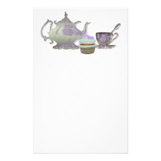 Lilac Cupcake Hearts, Teapot and Teacup Art Stationery