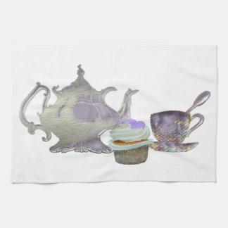 Lilac Cupcake Hearts, Teapot and Teacup Art Tea Towel