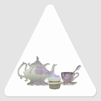 Lilac Cupcake Hearts, Teapot and Teacup Art Triangle Sticker
