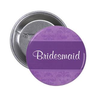 Lilac Damask Pinback Buttons