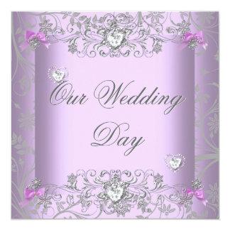 Lilac Damask Wedding Silver Diamond Hearts 13 Cm X 13 Cm Square Invitation Card