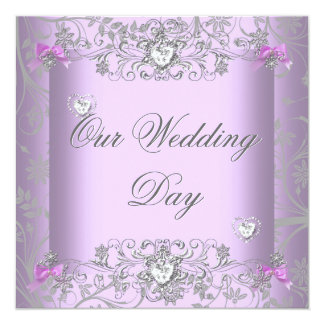 Lilac Damask Wedding Silver Diamond Hearts Card