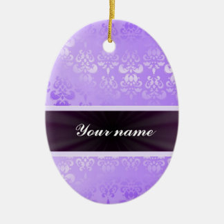 Lilac Damask with Ribbon Ceramic Oval Decoration