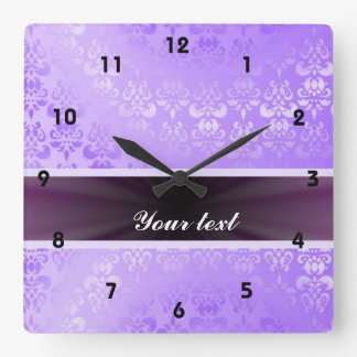 Lilac Damask with Ribbon Square Wall Clock