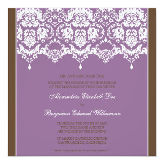 Lilac Darling Damask Square Wedding Invitation
