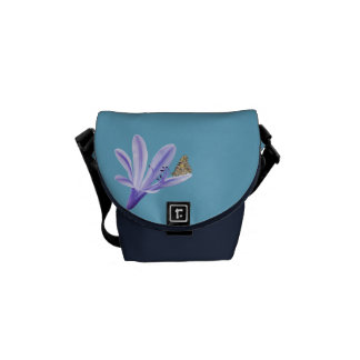 Lilac Day Lily Flower and Butterfly Messenger Bags
