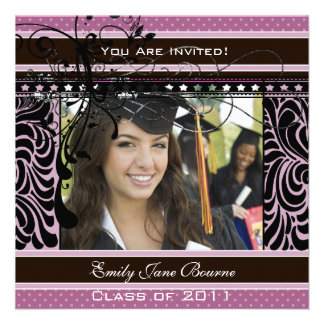 Lilac Dots Swirls Senior Pictures Class of 2011 Invitation