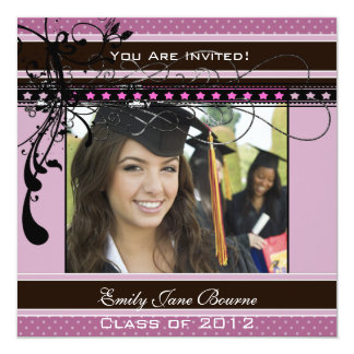 Lilac Dots & Swirls Senior Pictures Class of 2012 13 Cm X 13 Cm Square Invitation Card