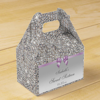 Lilac Faux Bow Silver Sequins Sweet 16 Wedding Favour Box