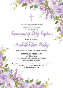 purple baby christening baptism invitations zazzle co uk
