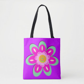 Lilac floral tote bag