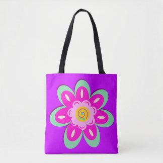 Lilac floral tote bag