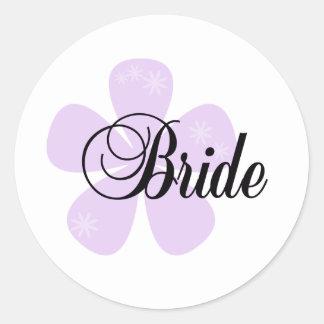 Lilac Flower Bride Round Sticker