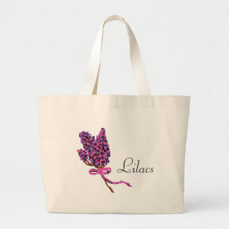 Lilac Flower Design in Summer Flowers Canvas Bags
