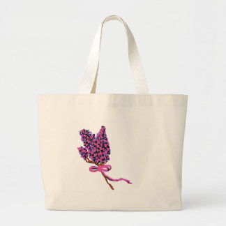 Lilac Flower Design in Summer Flowers Canvas Bag
